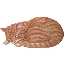 Tabby Cat Hand-Hooked Rug