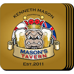 Personalized Bulldog Tavern Coaster Set
