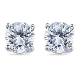 Round Diamond Stud Earrings in 18K White Gold