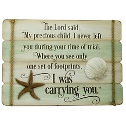 Footprints In The Sand 10x14 Wall Plaque