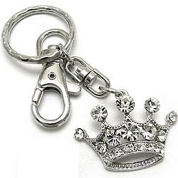 Crown Purse Charm Keychain with Clear Crystals