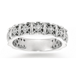 14k White Gold Filigree Prong Diamond Stackable Ring