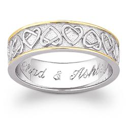 Sterling Silver Two-Tone Celtic Heart Engraved Wedding Band