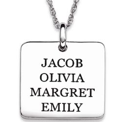 Personalized Sterling Silver Square Name Tag Pendant