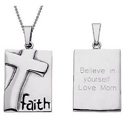 Personalized Stainless Steel Faith Pendant