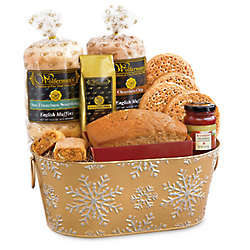 Sparkling Snowflake Breakfast Tin Basket