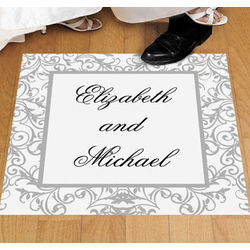 Personalized Silver Swirl Wedding Floor Cling