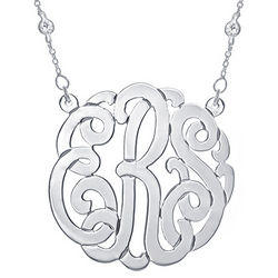 Personalized Monogram Sterling Silver Necklace with CZ on Chain