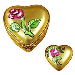 Gold Rose Heart Limoges Box