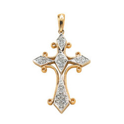 14K Two Tone Gold Filigree .25 Ct Diamond Cross Pendant