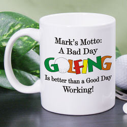 Personalized Bad Day Golfing Coffee Mug