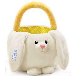 Personalized White Bunny Basket