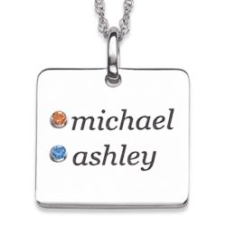 Sterling Silver Couples Birthstone Square Name Necklace