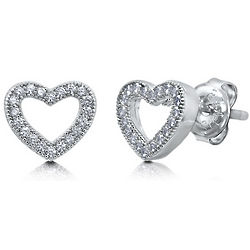 Cubic Zirconia Sterling Silver Open Heart Stud Earrings