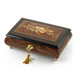 Handcrafted Musical Jewelry Box with Violin and Horn Inlay