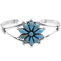 Floral Design Turquoise Sterling Bracelet