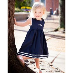 Baby's Personalized Cotton Pique Navy Dress