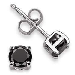 Sterling Silver Round Black Cubic Zirconia Studs