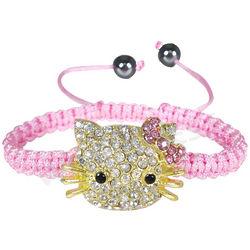 Girl's Rhinestone and Hematite Shamballa Kitty Cord Bracelet