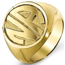 Two Initial Gold Vermeil Signet Ring