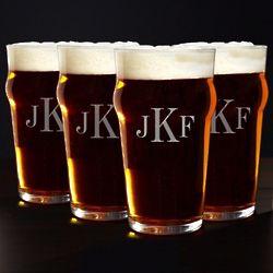 Monogrammed English Pub Beer Glasses