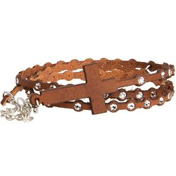 Leather Wrap Swarovski Crystal Rosary Bracelet