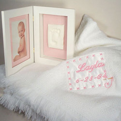 Girls Personalized Keepsake Blanket with Footprint Picture Frame