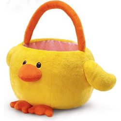 Plush Yellow Chicken Easter Basket