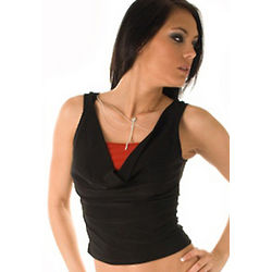 Draped Tank Top with Dragonfly Necklace