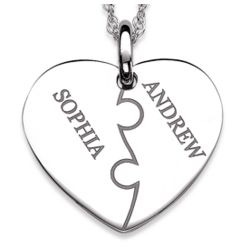 Sterling Silver Couples Puzzle Heart Engraved Name Necklace