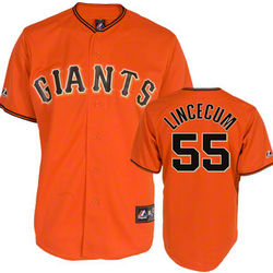 Tim Lincecum Adult Majestic Alternate Orange Replica #55 Jersey