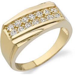 Two Row Men's Cubic Zirconia in 14K Gold Ring