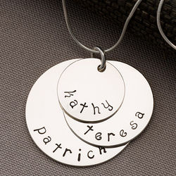 Personalized Kid's Names Stacking 3 Disc Necklace