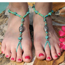 Tropic Inspired Glass and Metal Foot Bracelet Jewelry