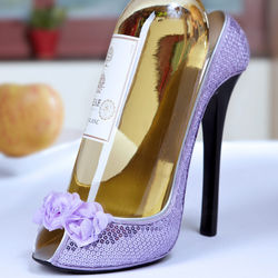 Lavender Roses Shoe Wine Bottle Holder