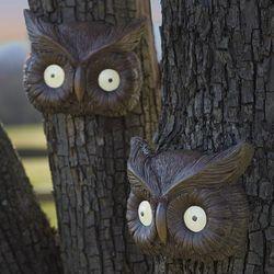 Glowing Owl Eyes Tree Face