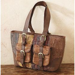 Leather Chindi Rug Tote