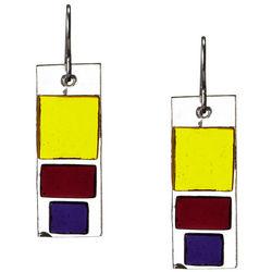 Triple Block Glass Earrings