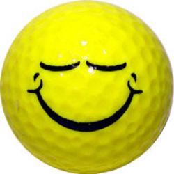 Smiley Face Eyes Shut Golf Ball