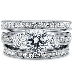 Sterling Silver Cubic Zirconia 3-Stone Engagement Ring Set
