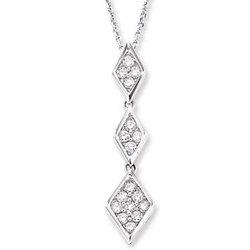 14K White Gold Triple Prong 1/3 Carat Diamond Necklace
