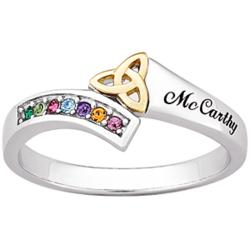Sterling Silver Two-Tone Birthstone Trinity Family Name Ring