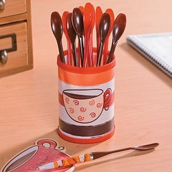 Coffee Cup Pen Holder with Spoon-Shaped Pens