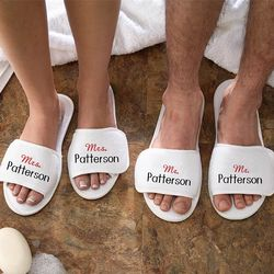 Embroidered Mr. and Mrs. Terry Spa Slippers
