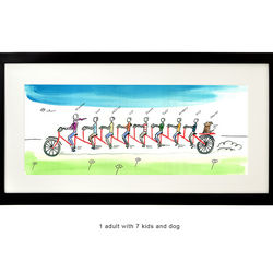 Personalized Husband and Wife Family Tandem Bike Art Print