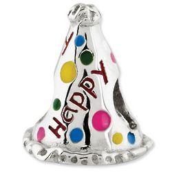 Birthday Hat Bead in Sterling Silver Enamel