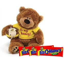 Large Plush Teddy Bear with Bit O Honey Candy Bars