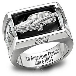Stainless Steel and Onyx Ford Mustang Ring