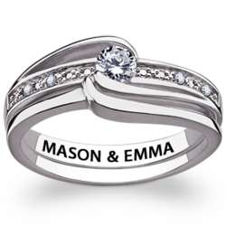 Sterling Silver Cubic Zirconia and Diamond Engraved Wedding Ring