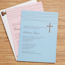 Personalized God Bless Baby Christening Invitations